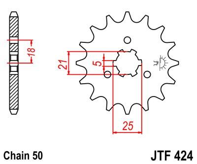 JT Sprockets Steel Front Sprocket 16T JTF424.16