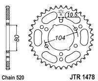 JTR1478.38 38T for Kawasaki JT Sprockets Steel Rear Sprocket
