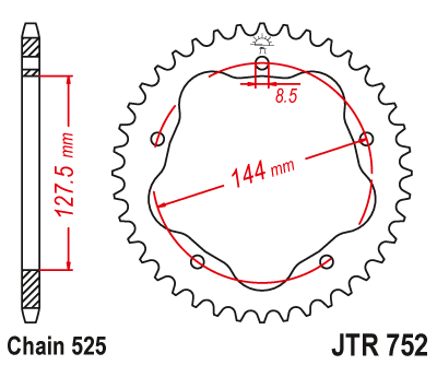 45T JT Steel Rear Sprocket JTR752.45