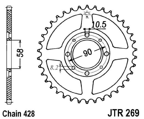JT Sprockets JTR1466.46 46T Steel Rear Sprocket