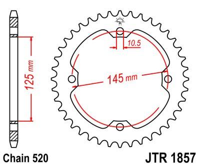 JT Sprockets 520 Rear Sprocket Steel 42 Teeth Black JTR1857.42