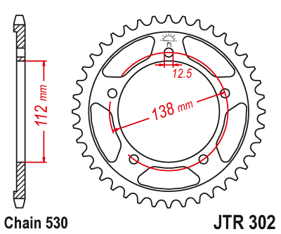 JT Sprockets JTR302.43 43T Steel Rear Sprocket