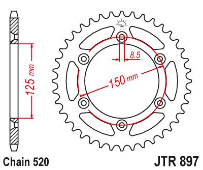 JT Sprockets JTR897.48 48T Steel Rear Sprocket
