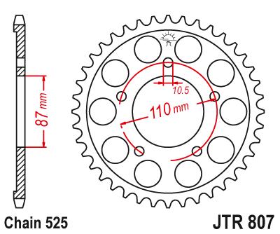 JT Rear Steel Sprocket JTR807