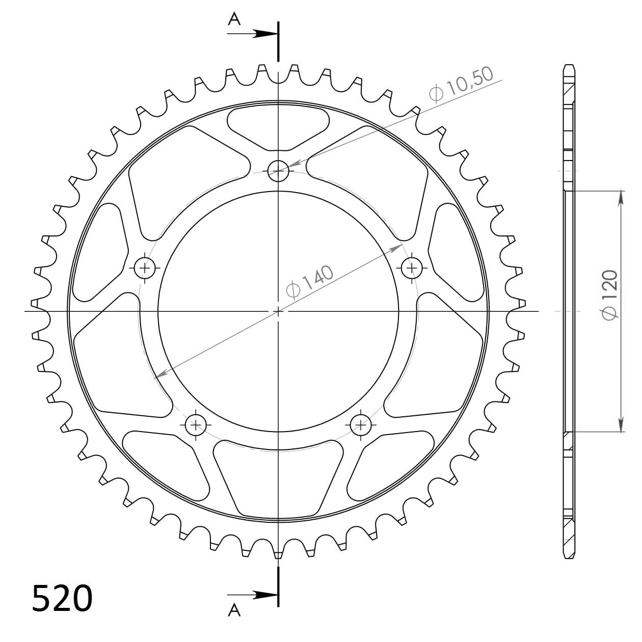 SuperSprox RFE-1793-48-BLK Rear Steel Sprocket