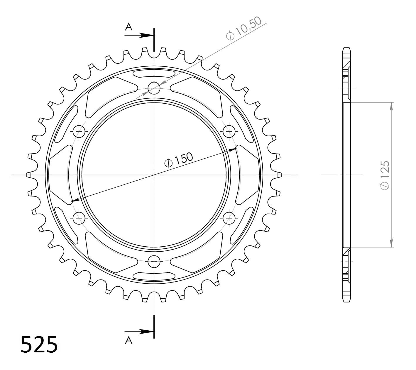 SuperSprox RFE-899-42-BLK Rear Steel Sprocket